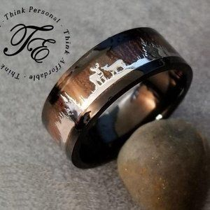 Men's Wedding Ring Wood and Deer Inlays